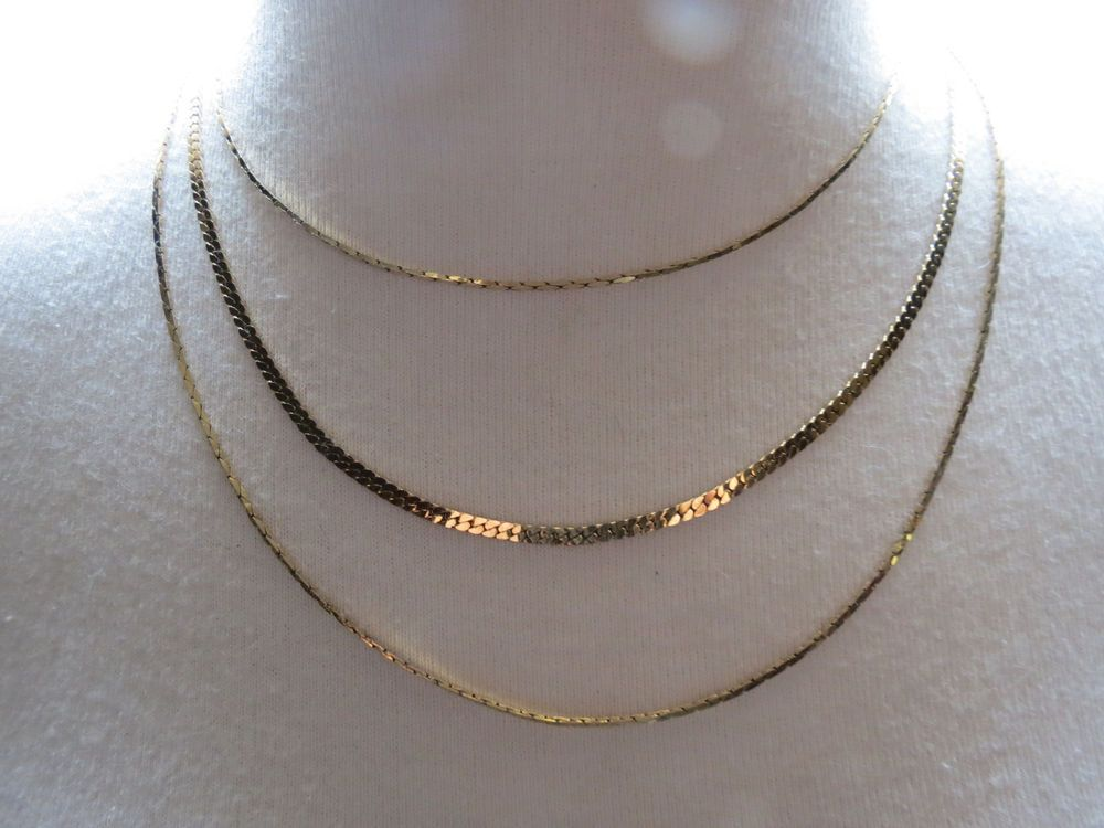 "Monet Necklace Mult Chain Gold Plated Designer 17"" Wearable Length Flat Slinky #Monet #Chain SOLD!"
