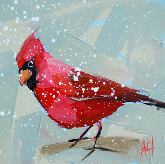 Cardinal no. 82 original bird oil painting by Angela Moulton 6 x 6 inches on panel shipping January 4 prattcreekart