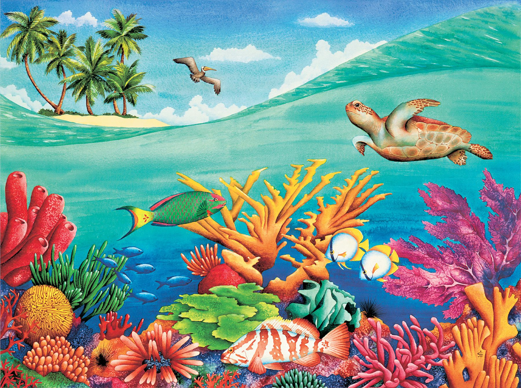 under the sea wall mural at