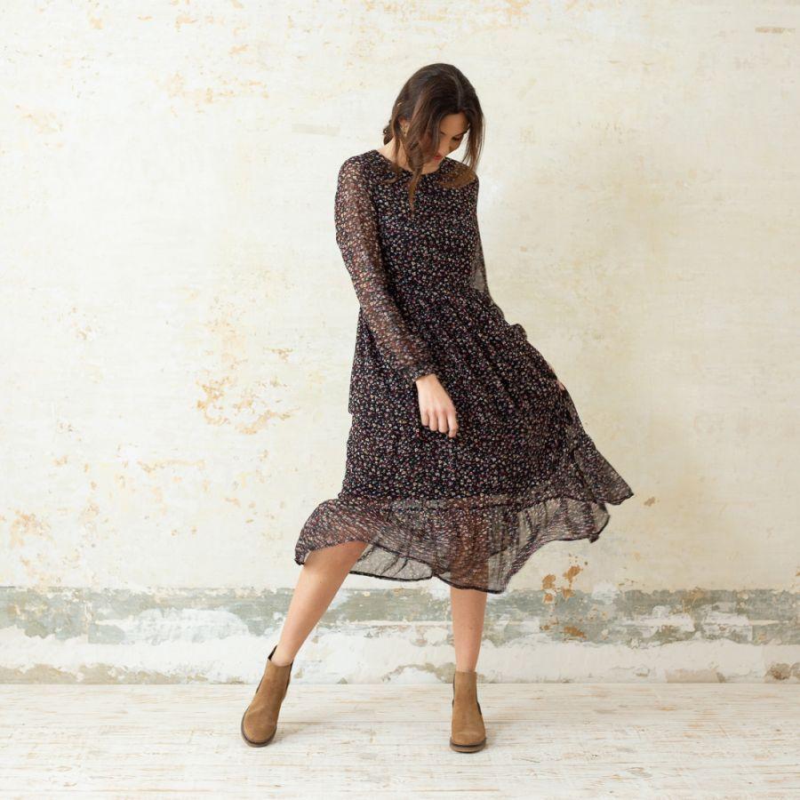 a279352fc ELIAN VESTIDO MIDI FLORES NEGRO Vestido mujer midi de manga larga color  negro con estampado de