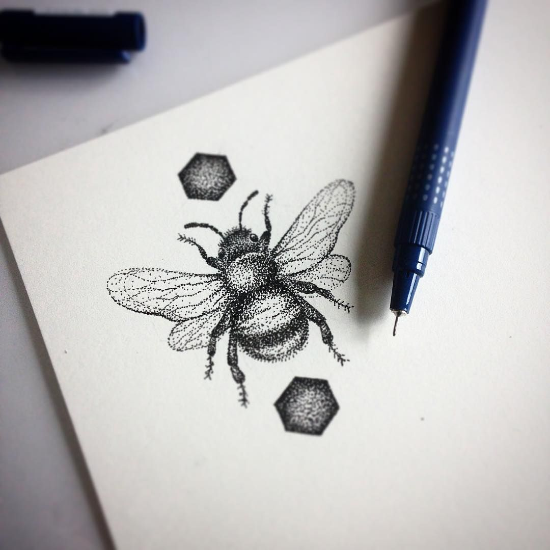 Geometric Bee Tattoo: Aww, This One Is PERFECT! …