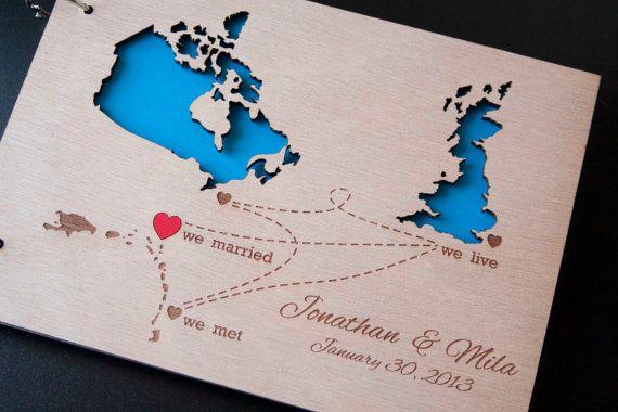 Album - Custom Wedding Map guest book wood rustic by TotallySalinda, $44.00