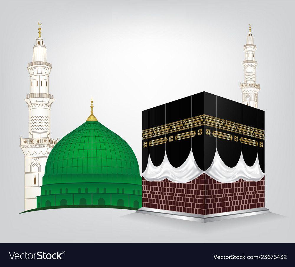Gumbad E Khazra And Kaaba Tullah Vector Image On Vectorstock Islamic Posters Islamic Images Islamic Artwork