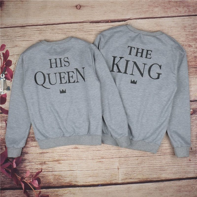 0d3d3bc825 King & Queen Couple Crewneck Sweatshirt Set Super Couple Sweater Tee Gift…