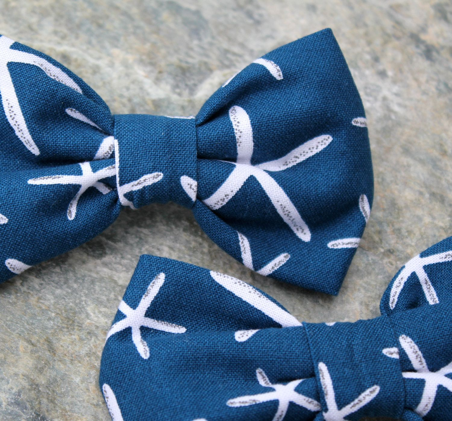 Navy Blue Starfish Bow Tie for boys clip on if we go
