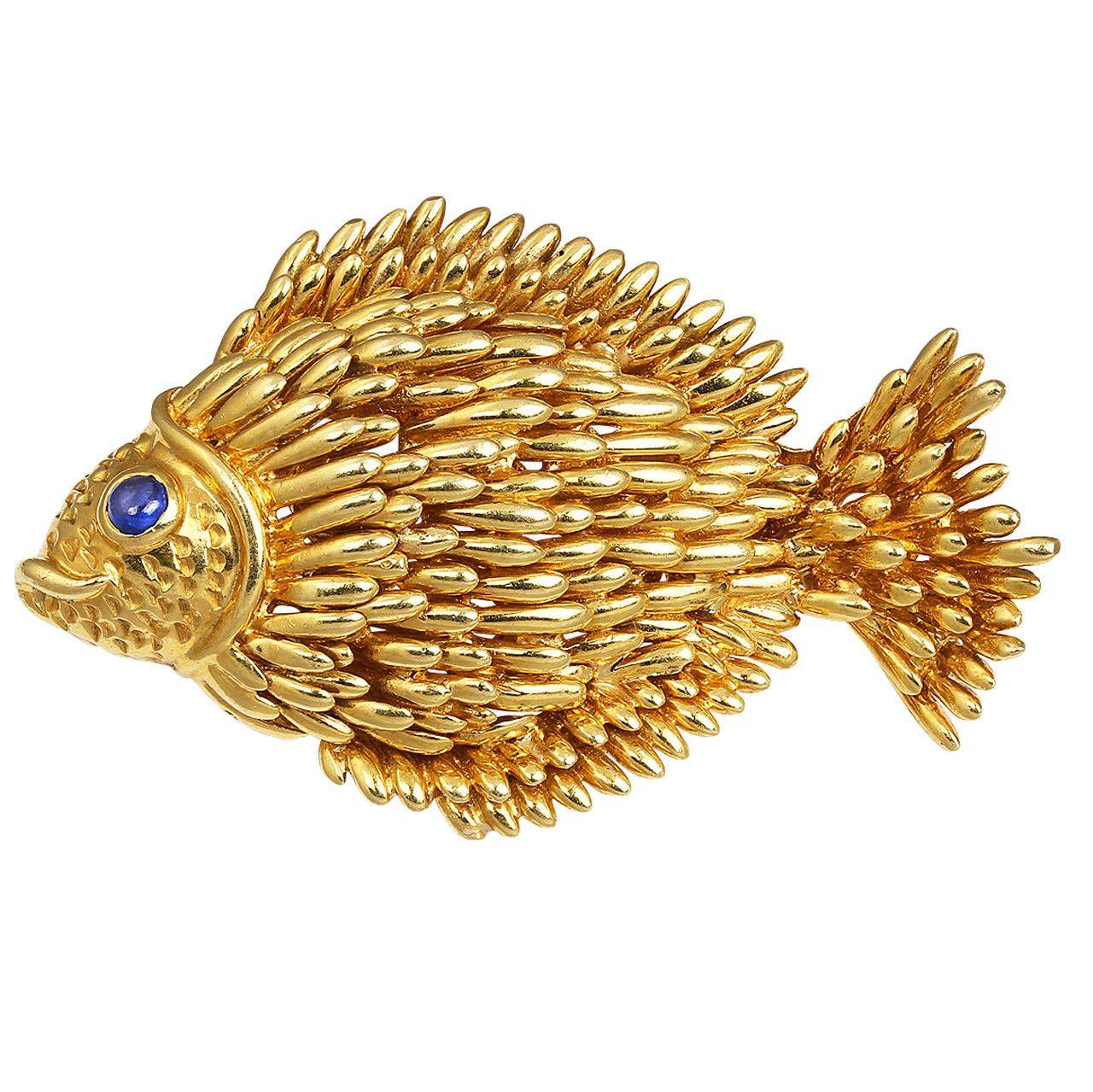 Tiffany & Co. Sapphire Gold Fish Brooch