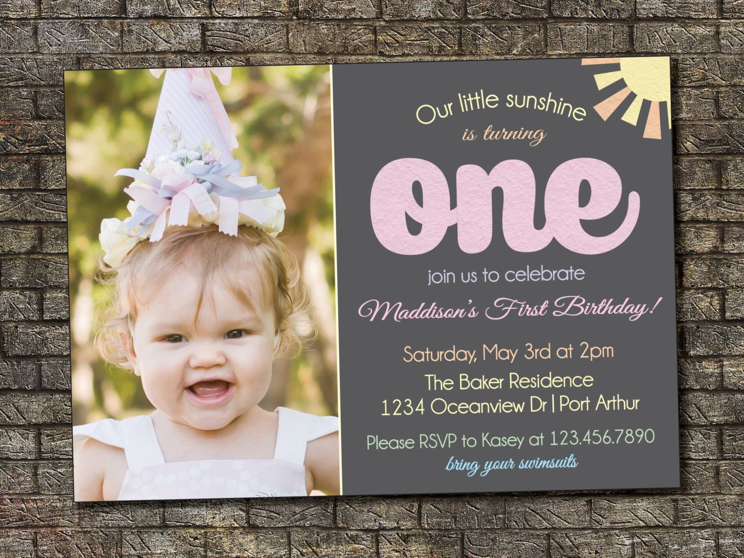 You Are My Sunshine Birthday Invitation, Rainbow Girl Birthday Party ...