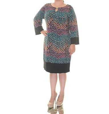 Style & Co. Womens Black Printed Keyhole 3/4 Sleeves Party Dress XL
