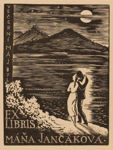 Ex libris by Czech artist Vaclav Polivka, 1936