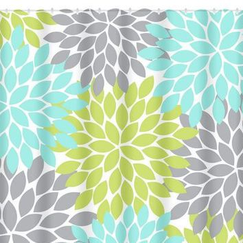Aqua Gray Lime SHOWER CURTAIN Flower Burst Custom MONOGRAM Personalized Floral Bathroom Decor Bath Beach Towel Plush Mat Dahlia Flowers