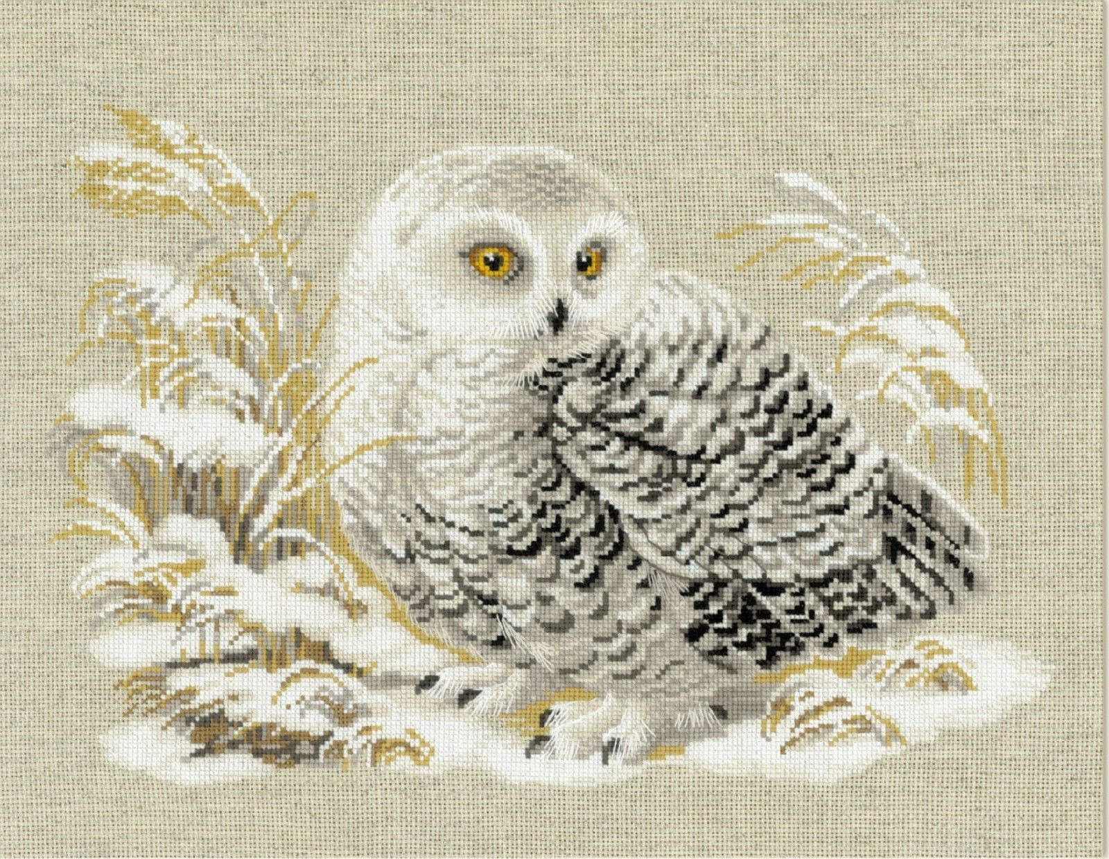 PORTRAIT OF A SNOWY OWL COUNTED CROSS STITCH PDF PATTERN ONLY