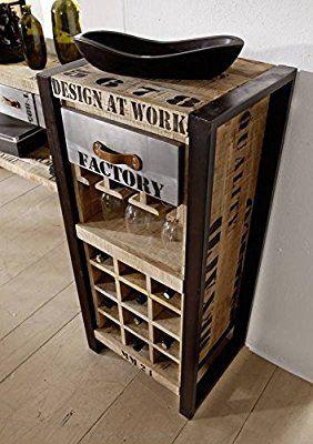 Botellero hierro madera maciza de madera mango macizo industrial stil maciza muebles dise o - Muebles diseno industrial ...