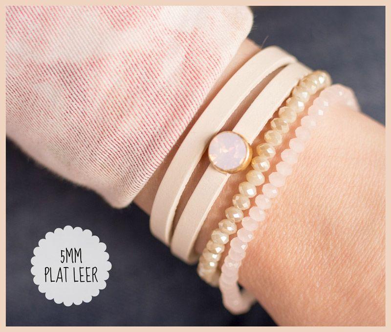 Plat leer met Swarovski armband   Sieraden maken - Armband