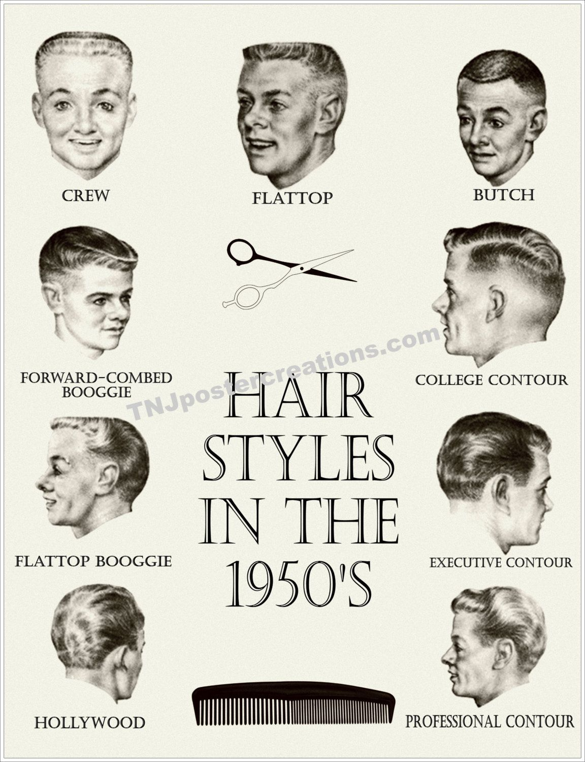 Hair Styles in the 1950s Poster Crew Cut by ...