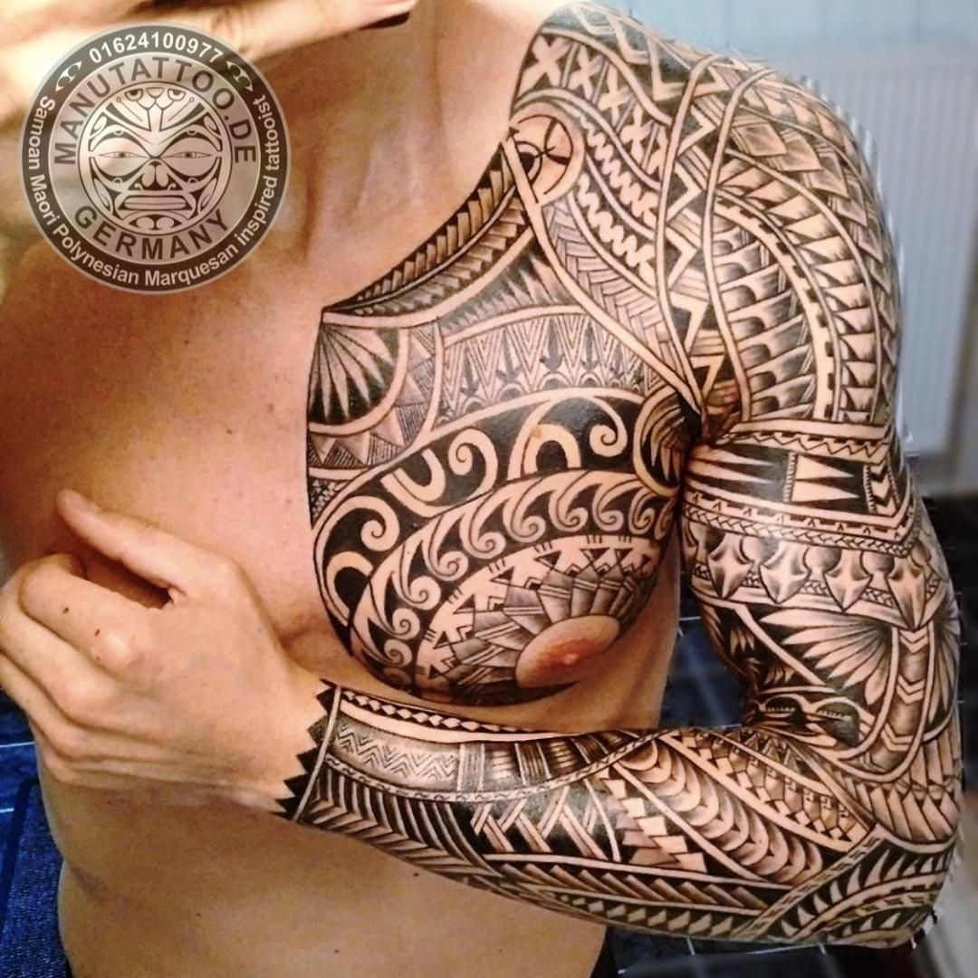 Freehand Polynesian Tattoo, Full Sleeve And Chest