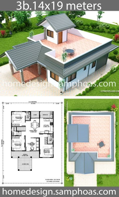 House Design Plans 14x19m With 3 Bedrooms Home Ideassearch Home Design Plans Affordable House Plans House Design