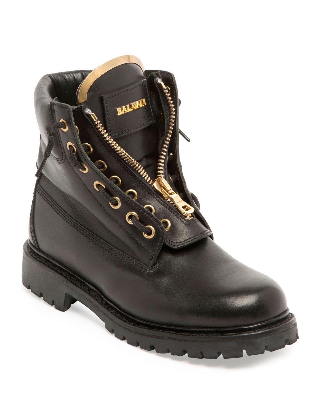 detailed look best choice delicate colors Balmain Taiga Leather Zip-Front Ranger Boot, Noir | *Apparel ...