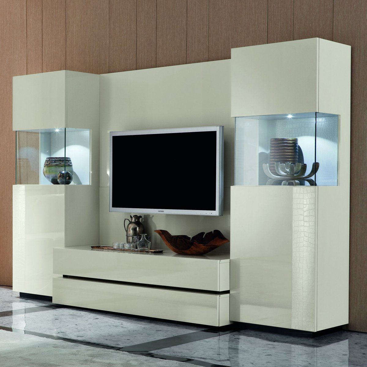 Perfect Modern Tv Units With Beautiful And Sturdy Modern Tv Wall Unit In  White Finish
