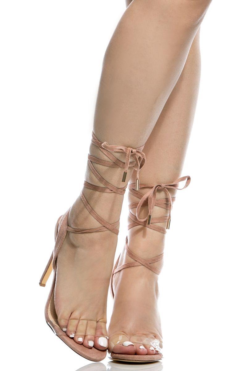 e112fa7c034 Blush Faux Suede Wrap Around Vinyl Single Sole Heels   Cicihot Heel Shoes  online store sales Stiletto Heel Shoes