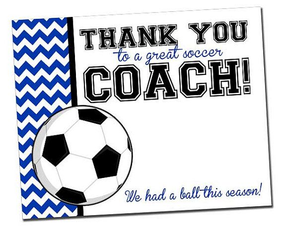 Team Thank You Card For Soccer Coach INSTANT Download Chevron