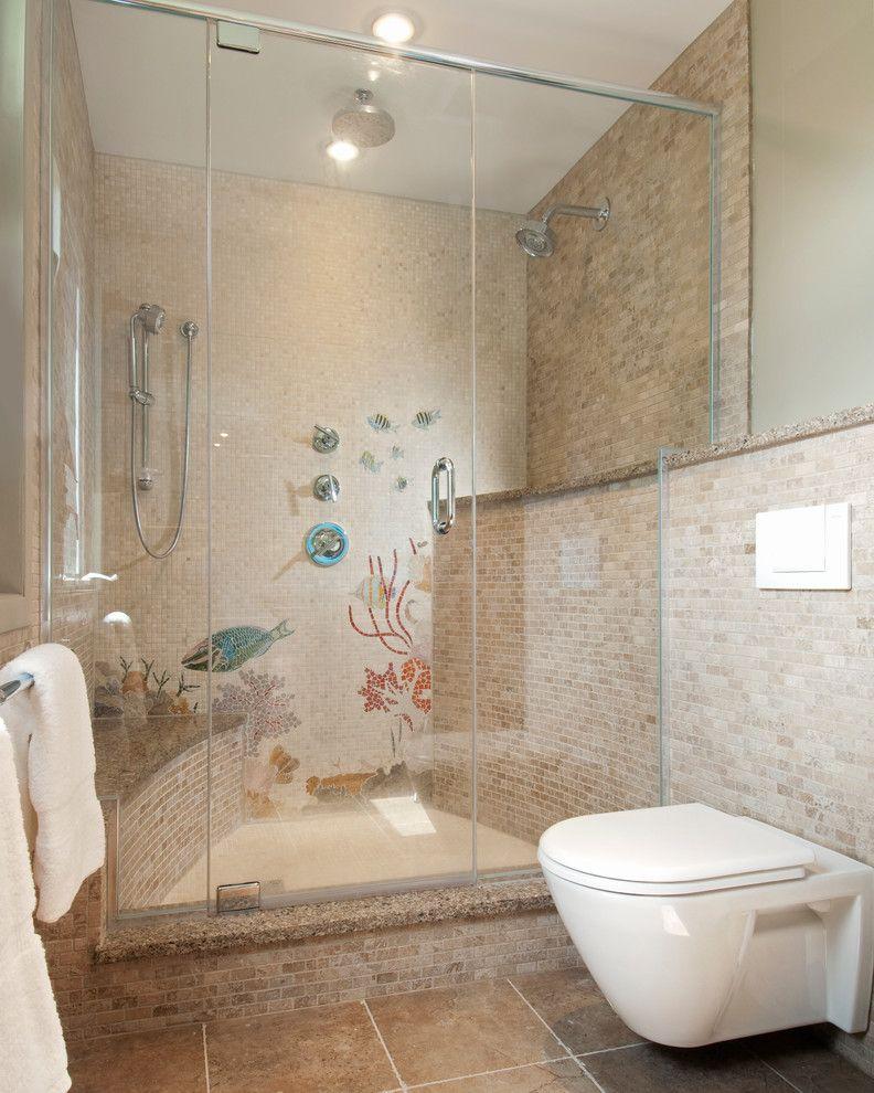 Frameless Glass Shower Doors Beach Style Bathroom Beige Stone Tile Wall Built In Shower Bench