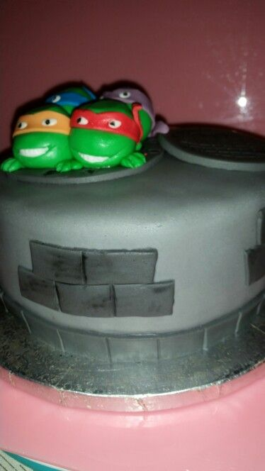 Tarta De Lastortugas Ninjas Bizcochuelo Ba 241 Ado En