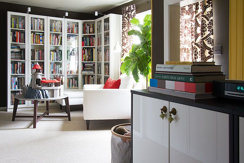 Home Library Brown Walls White Ikea Billy Bookshelves Making It