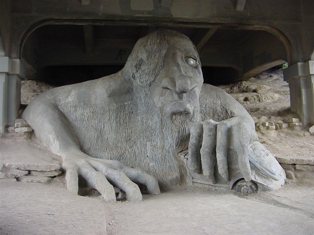 fremont troll sculpture   bridge   fremont neighborhood  seattle