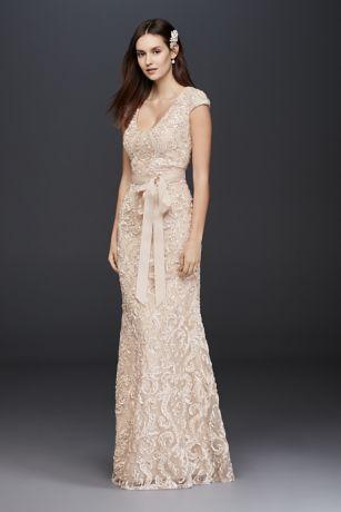 Elegant Cap Sleeve Soutache Lace Dress with Grosgrain Sash Style A