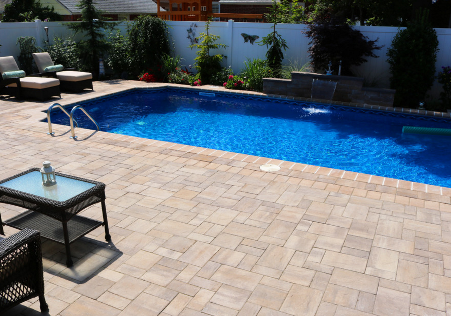 patio with square pool. This Beautiful Franklin Square, New York Pool Patio Was Created By Topaz Design Group Using With Square K