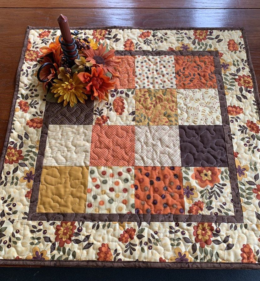 Fall Table Topper, Handmade Table Runner Fall, Quilted ...