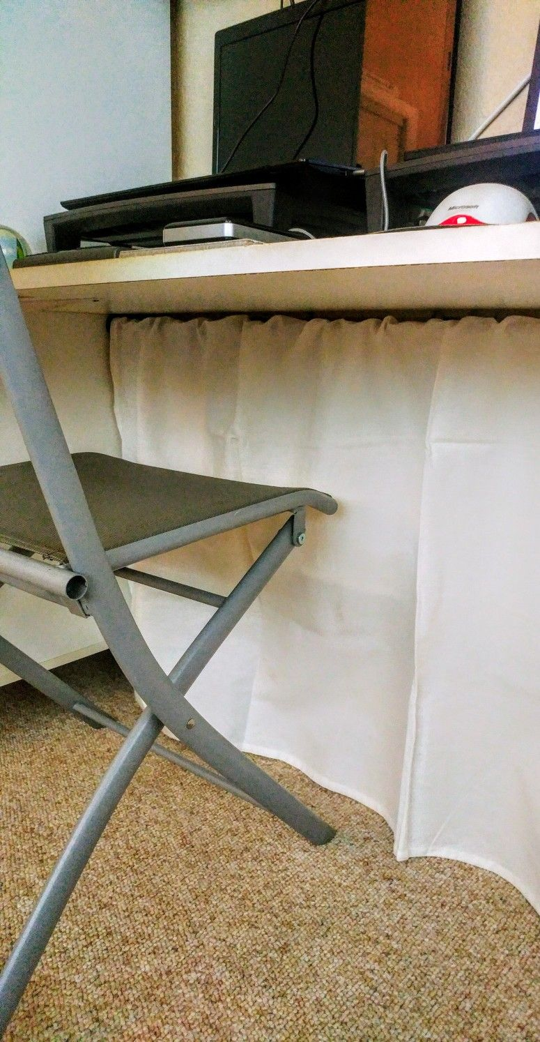 I Found This Under Desk Curtain Tip To Hide Wires Here On Pinterest Easiest Project Ever I Grabbed A Tensi Comfortable Chaise Easy Projects New Furniture