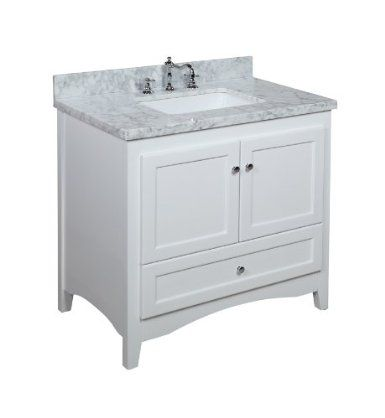 Abbey 36 Inch White Bathroom Vanity Carrera White Includes A Soft Close Drawer Self Closin White Vanity Bathroom Bathroom Vanity Small Bathroom Inspiration