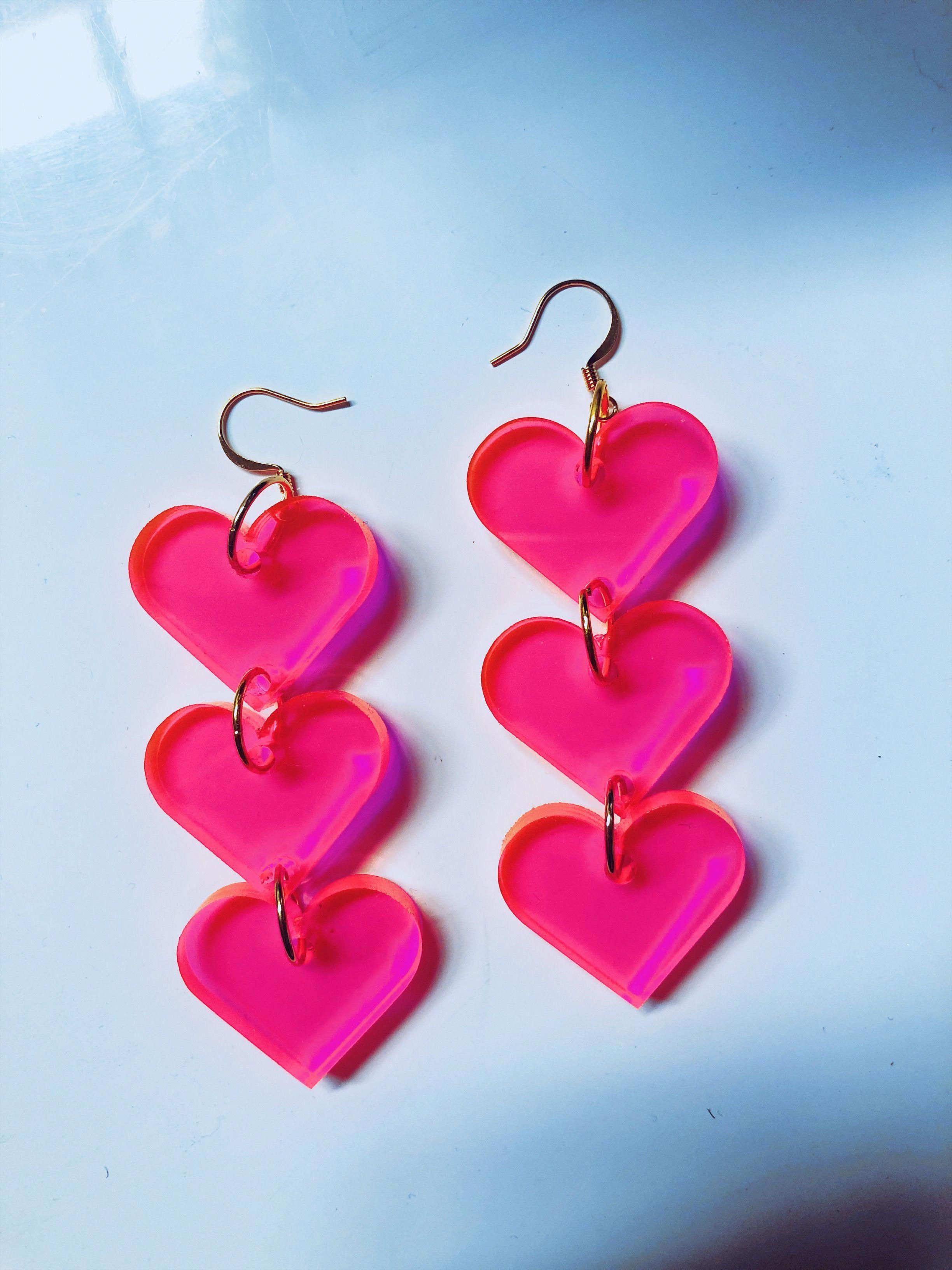 Fluoro Pink Sweetness Statement Dangles Acrylic Earrings