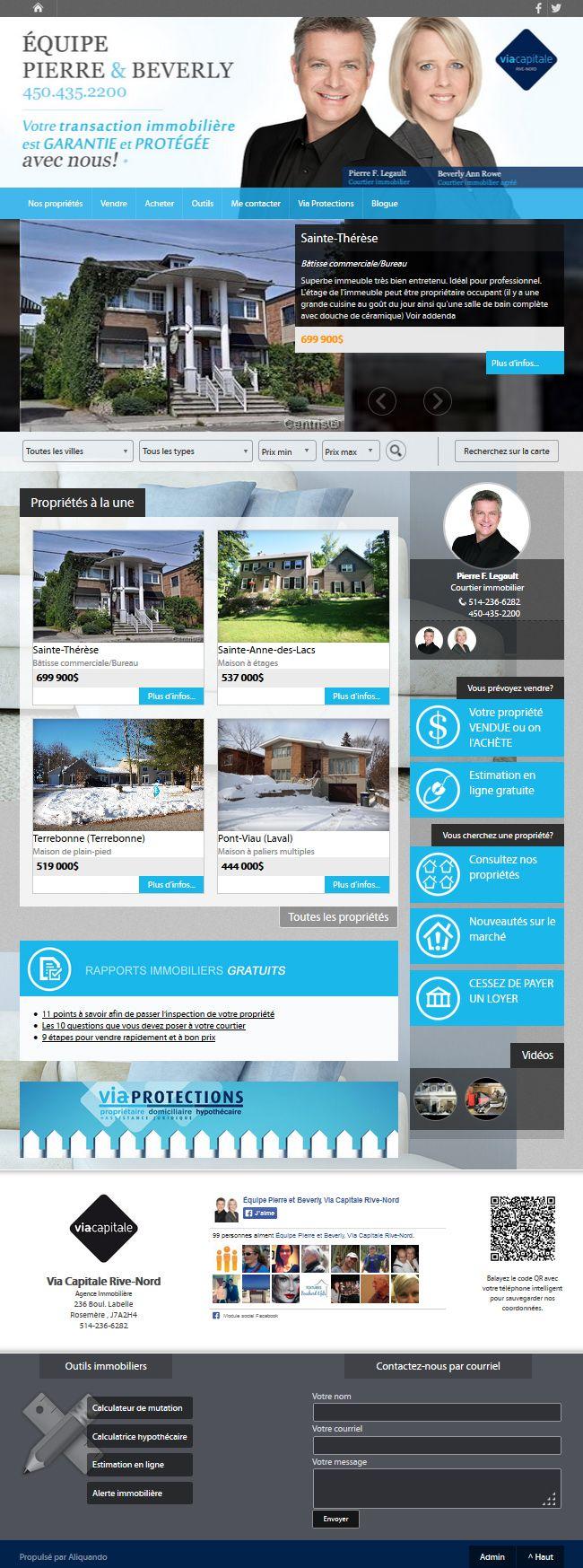 Équipe Pierre Et Beverly Courtier Immobilier Viacapitale Aliquando Immobilier Vendre Acheter Maison Habitation Desktop Screenshot