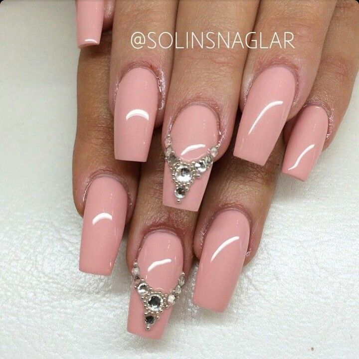 light pink square tip acrylic nails w rhinestones nails