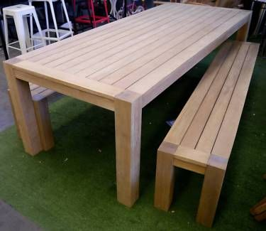 New Outdoor Furniture Timber 3Pc Dining Setting Table Bench Seats