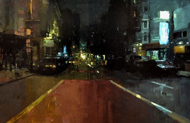 """Jeremy Mann, """"The Night on Geary Ave"""" - 16x24, oil on panel--at Principle Gallery's Urban Aspect Juried Exhibition"""