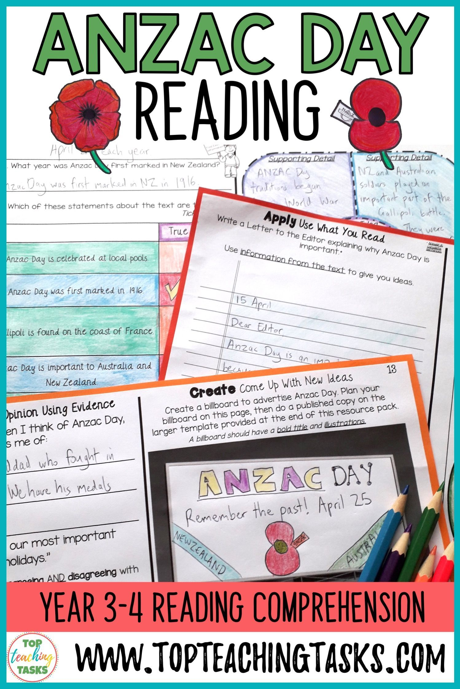 Anzac Day Reading Comprehension Activities Year 3 And 4 In