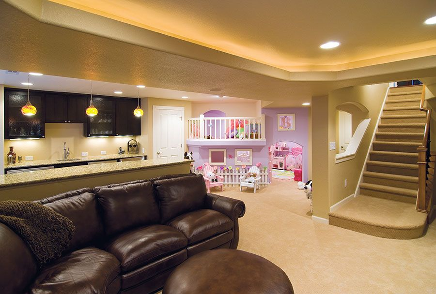 basement with bar living area and kids play area basement great rooms pinterest kids play. Black Bedroom Furniture Sets. Home Design Ideas