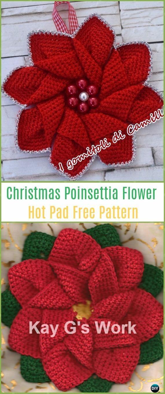 Crochet Poinsettia Christmas Flower Free Patterns | Navidad, Cosas ...