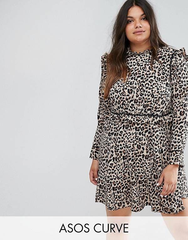 Asos Curve Abrigo con cuello con estampado de leopardo de ASOS CURVE ZxNHC