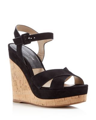 67494b4e0dba Michael Kors Collection Cate Ankle Strap Platform Cork Wedge Sandals ...