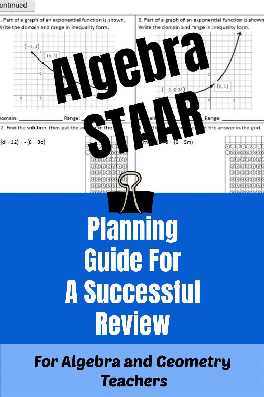 Planning For The Algebra Staar Exam With A Purpose Algebra Geometry Teacher Secondary Math [ 1500 x 1000 Pixel ]