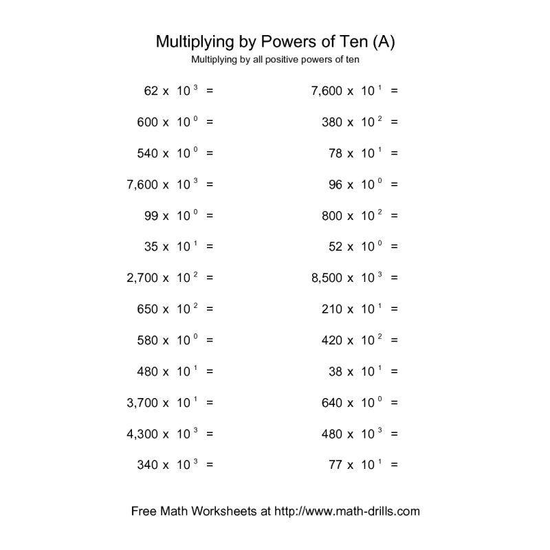 Powers of Ten Worksheet -- Whole Numbers Multiplied by All ...