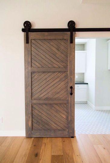 Rustic 3 Panel Sliding Herringbone Door Inside Barn Doors Barn Style Doors Barn Doors Sliding