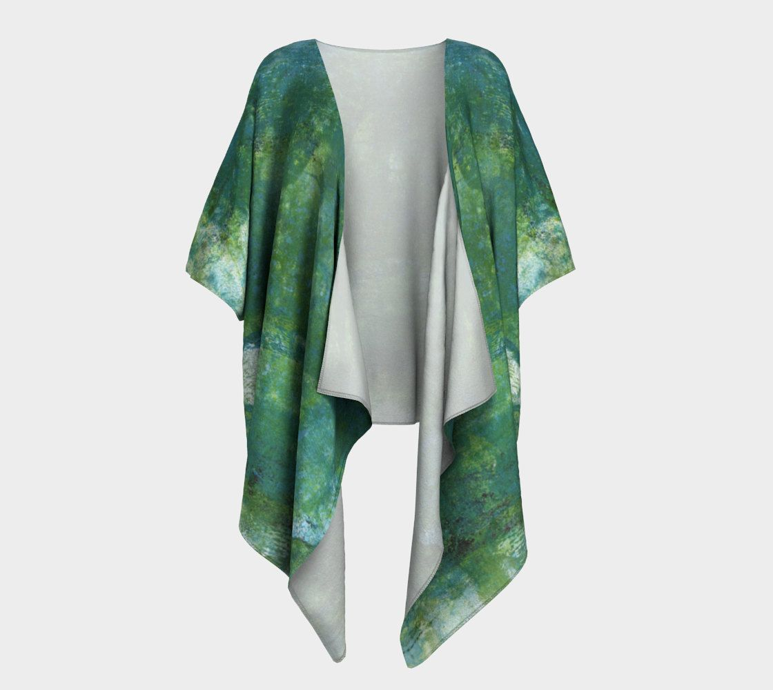 Draped kimono, forest green, made to order, silky knit, chiffon ...