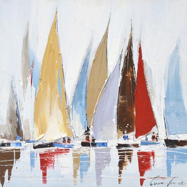 Tableau Voiliers Bleus Et Rouges 31 5x31 5 88771 Paintings