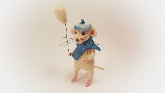 White Felt Mouse With A Balloon Needle Felted by OpenSuitcase