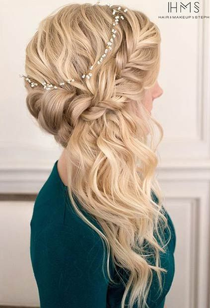 21 Pretty Side Swept Hairstyles For Prom Stayglam Braided Prom Hair Hair Elegant Wedding Hair